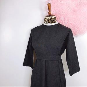 Vtg 60s Mod Chic Collar Midi Dress M